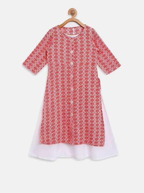 Campana Girls Red & White Printed Layered A-Line Kurta