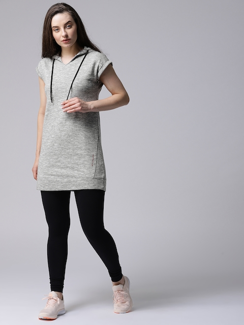 YWC Women Grey Solid Hooded Longline Sweatshirt