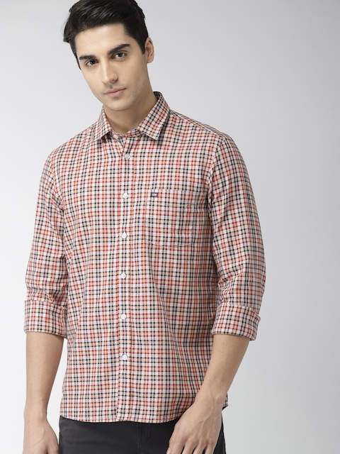 Arrow Sport Men Beige & Red Slim Fit Checked Casual Shirt