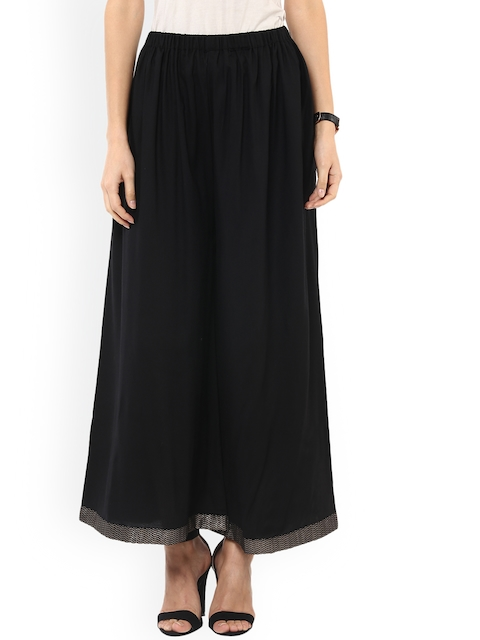 Pannkh Women Black Solid Flared Palazzos