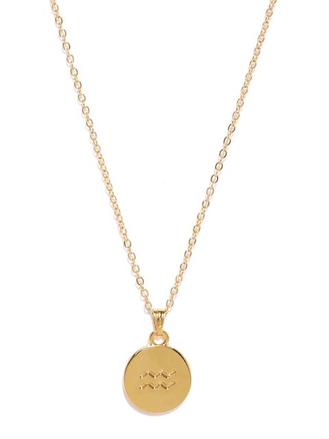 Ayesha Gold-Toned Aquarius Symbol Pendant with Chain
