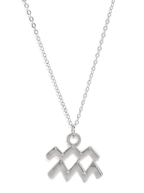 Ayesha Silver-Toned Aquarius Symbol Pendant with Chain
