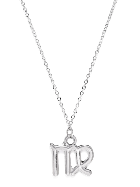 Ayesha Silver-Toned Virgo Shaped Pendant With Chain