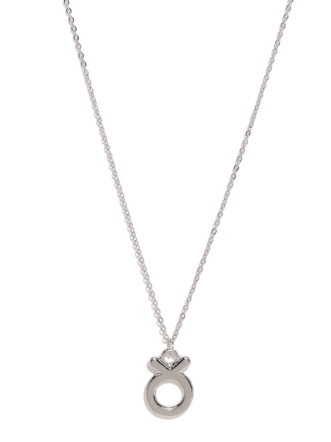 Ayesha Silver-Toned Taurus Symbol Pendant with Chain
