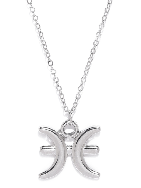 Ayesha Silver-Toned Pisces Shaped Pendant With Chain