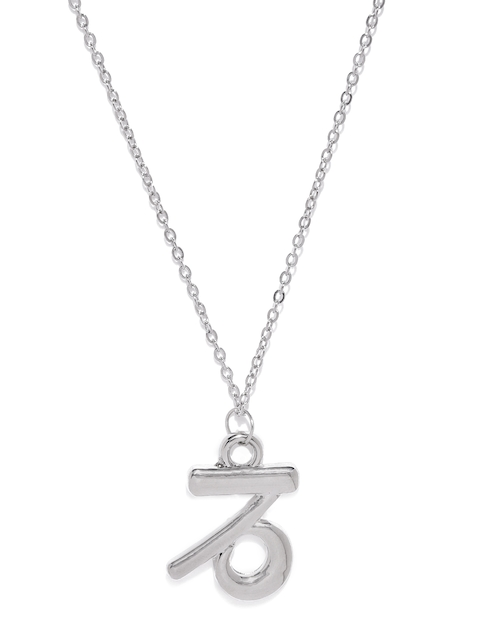 Ayesha Silver-Toned Capricorn Shaped Pendant With Chain