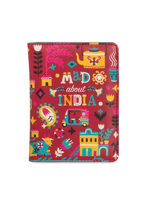 Chumbak Women Red & Multicoloured Printed Passport Holder