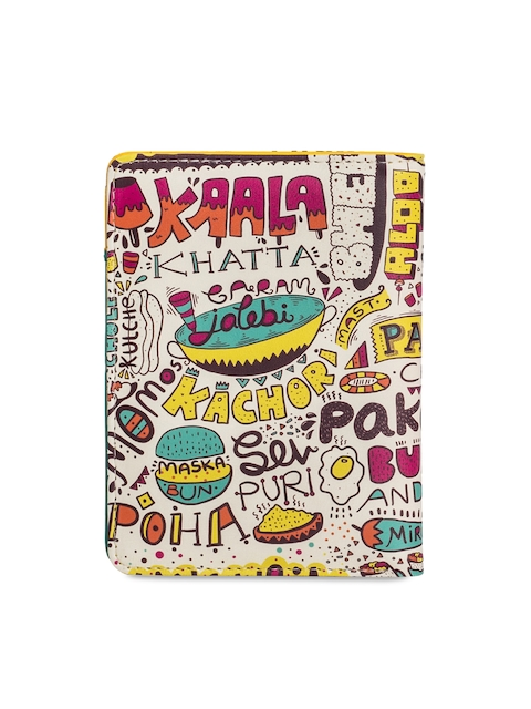 Chumbak Women Off-White & Multicoloured Printed Passport Holder