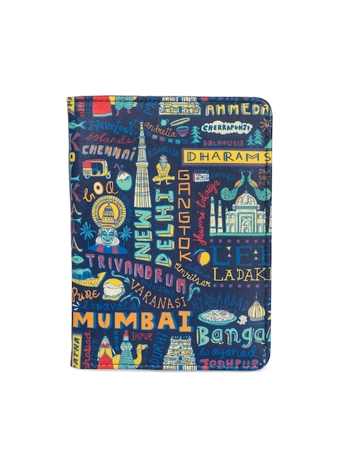 Chumbak Women Blue & Multicoloured Printed Passport Holder