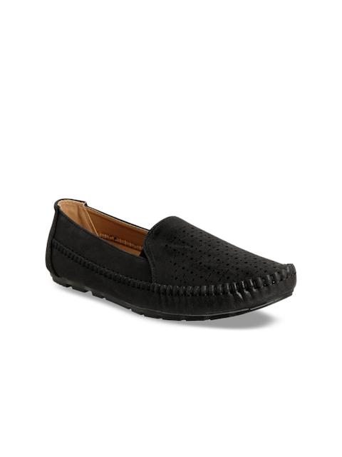 Flat n Heels Women Black Loafers