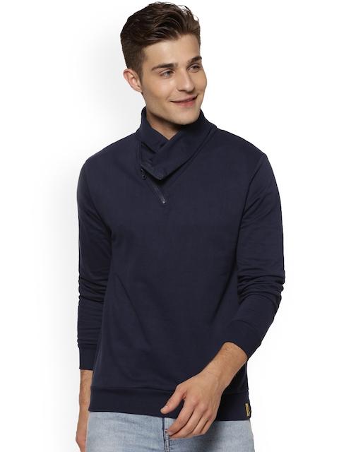 Campus Sutra Men Blue Solid Sweatshirt