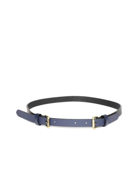 United Colors of Benetton Women Black & Navy Blue Colourblocked Twin Buckle Belt