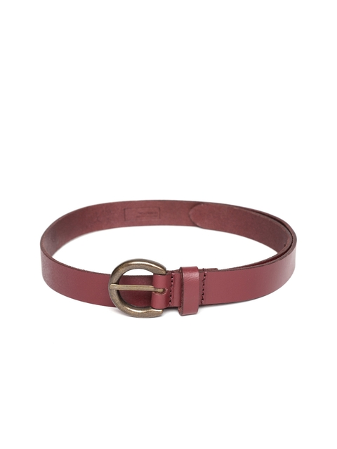 United Colors of Benetton Women Maroon Leather Solid Belt
