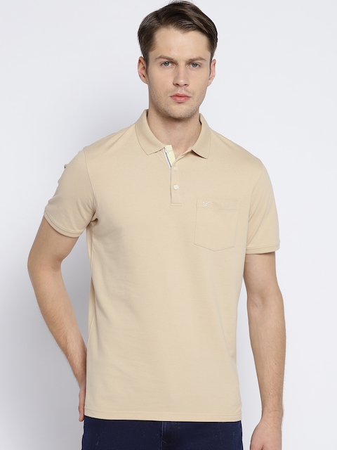 Blackberrys Men Beige Solid Polo Collar T-shirt