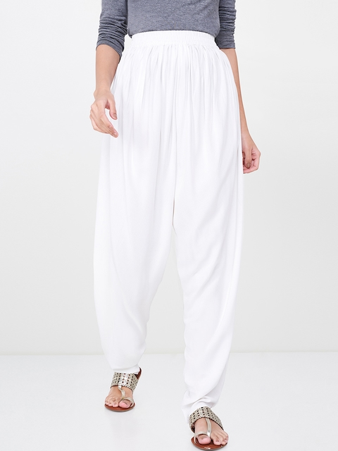 Global Desi Women Off-White Regular Fit Solid Jodhpuris