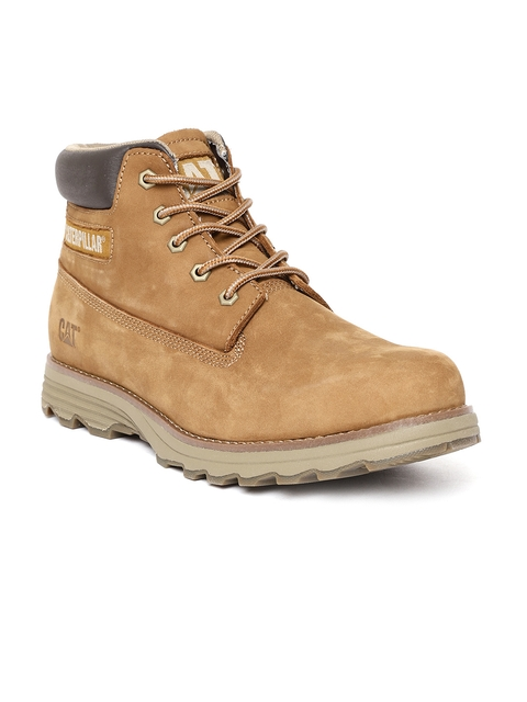 CAT Men Tan Brown Solid Leather Mid-Top Flat Boots