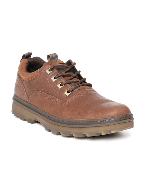 CAT Men Brown Leather Flat Boots