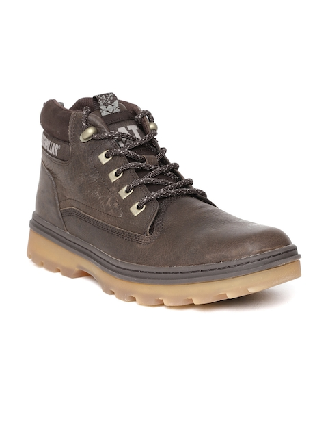 CAT Men Coffee Brown Solid Leather Mid-Top Chukka Boots