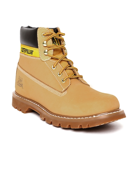 CAT Men Camel Brown Solid Leather Mid-Top Flat Boots