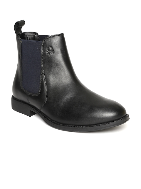 United Colors of Benetton Men Black Solid Leather Mid-Top Flat Boots