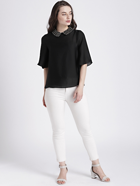 GAP Womens Black Embellished Collar Top