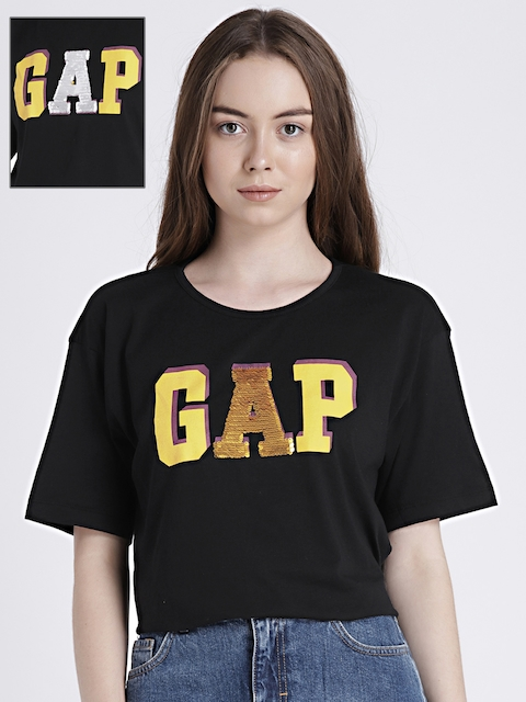 GAP Womens Black Printed Polo T-shirt