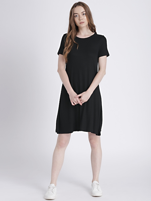 GAP Womens Black Short Sleeve Ribbed T-Shirt Dress