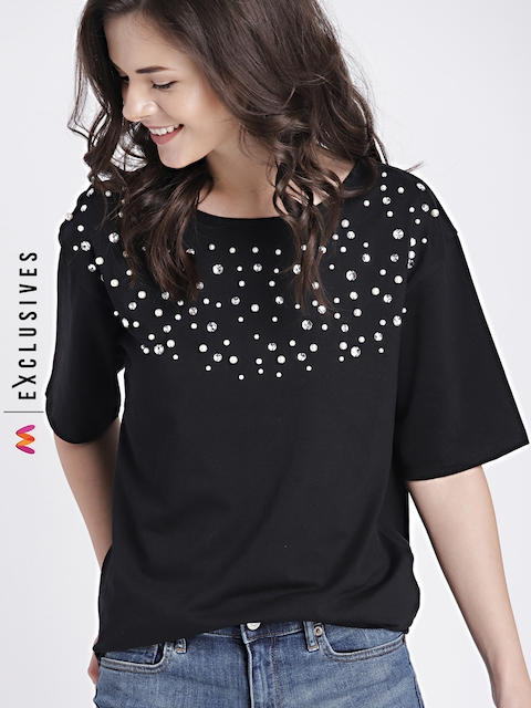 GAP Womens Black Embellished Drop Shoulder Top
