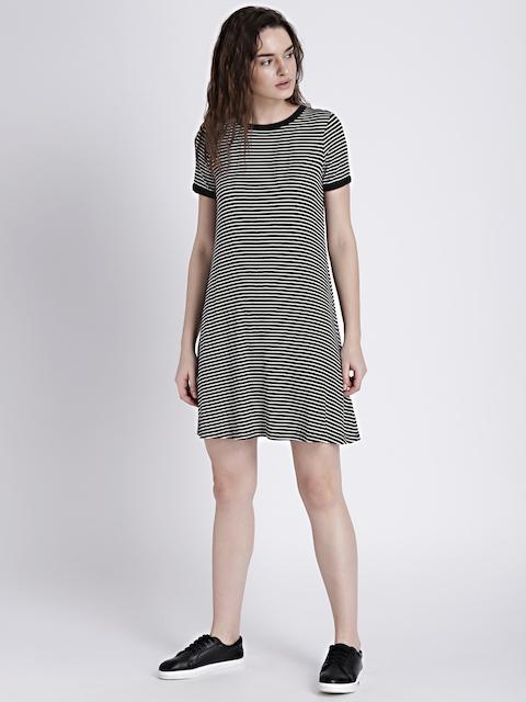 GAP Womens Black Short Sleeve Ribbed T-Shirt Dress