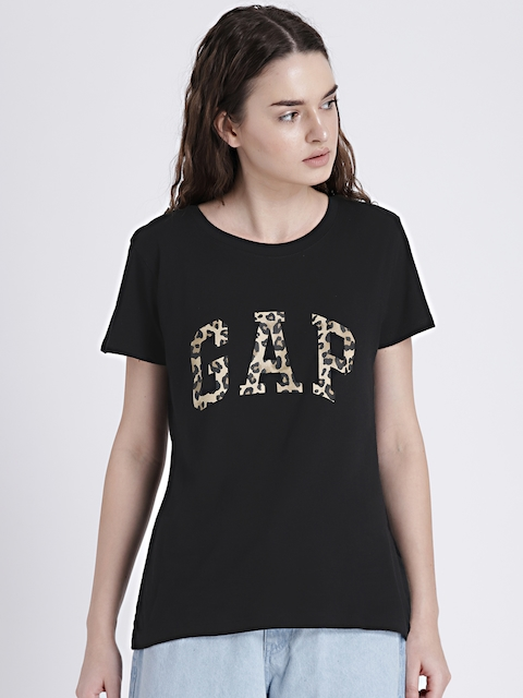 GAP Womens Black Logo Leopard Print T-shirt