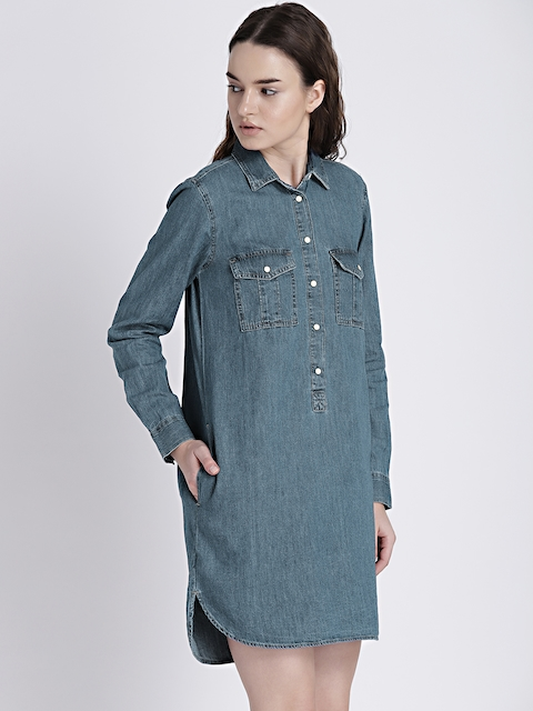 GAP Womens Blue Popover Denim Dress with Pockets