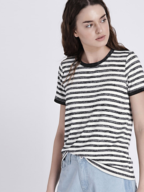 GAP Womens Softspun Black & White Velvet-Trim Stripe Crewneck T-Shirt