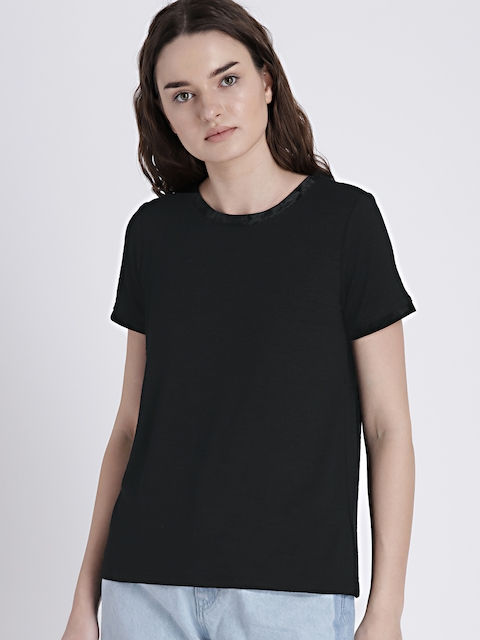 GAP Womens Black Softspun Velvet-Trim Crewneck T-Shirt
