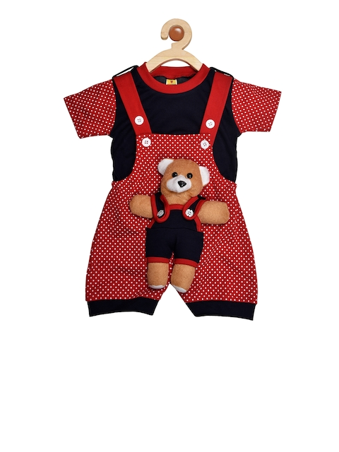 BORN WEAR Unisex Red & Navy Blue Solid T-shirt with Dungarees
