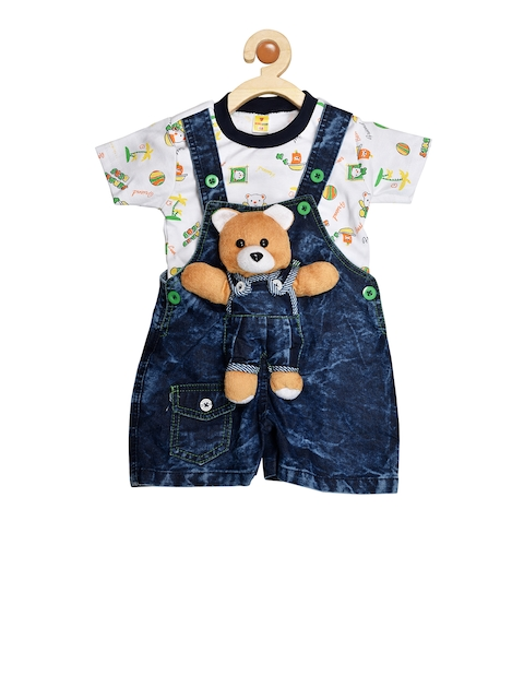 BORN WEAR Unisex Navy Blue & White Solid T-shirt with Dungarees