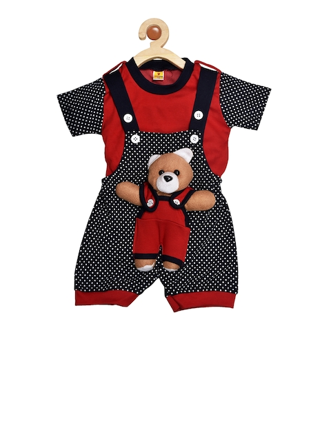 BORN WEAR Unisex Navy Blue & Red Solid T-shirt with Dungarees