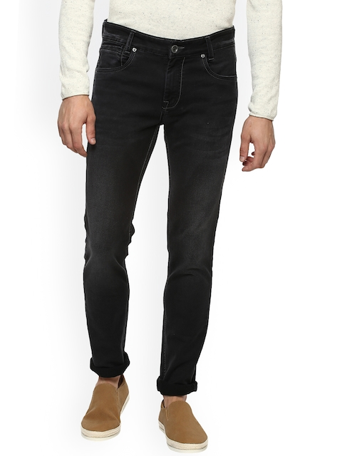 Mufti Men Black Straight Fit Mid-Rise Clean Look Stretchable Jeans