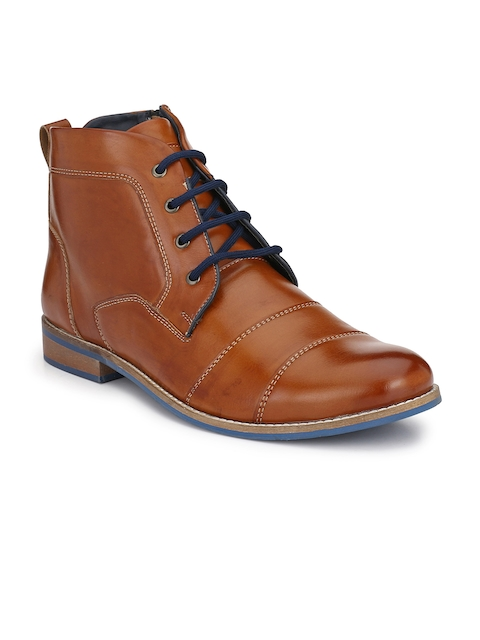 Eego Italy Men Tan Brown Solid Synthetic High-Top Flat Boots