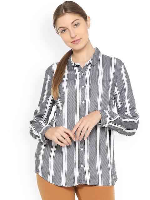 Allen Solly Woman Grey & White Regular Fit Striped Casual Shirt