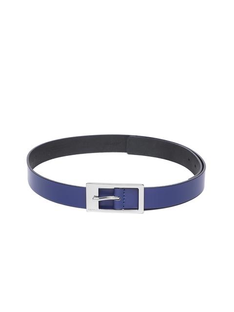 ESPRIT Women Blue Leather Solid Belt