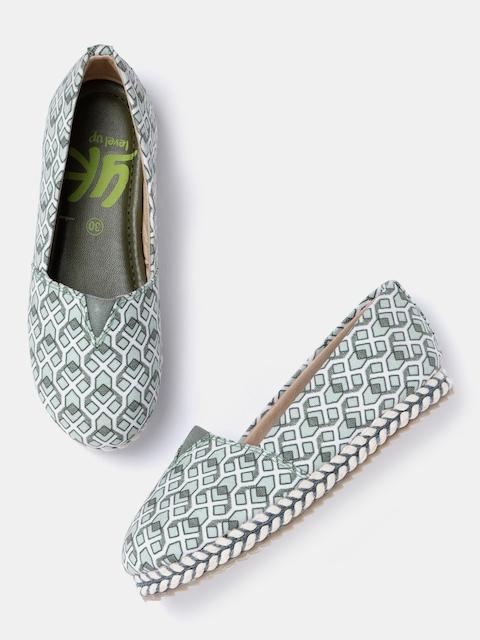 YK Girls Green & White Printed Slip-On Sneakers