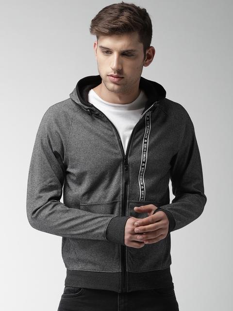 Fort Collins Men Black Solid Hooded Sweatshirt
