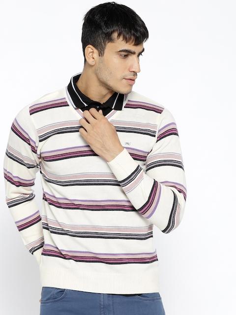 Monte Carlo Men Off-White & Purple Striped Pullover