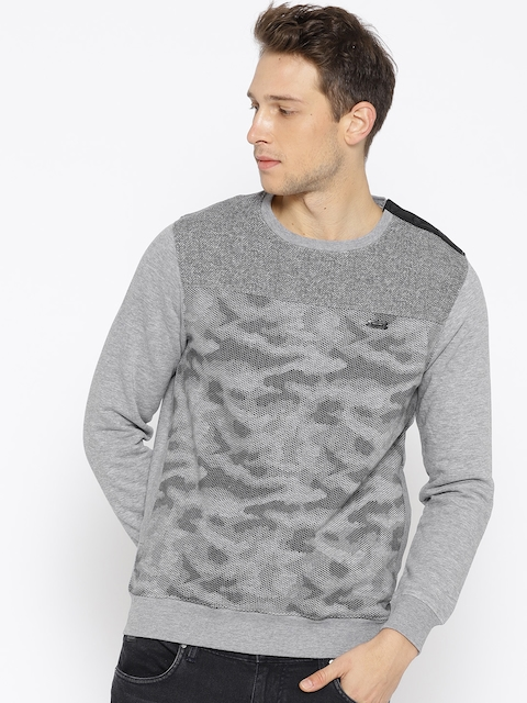 Monte Carlo Men Grey Melange & Black Printed Sweatshirt