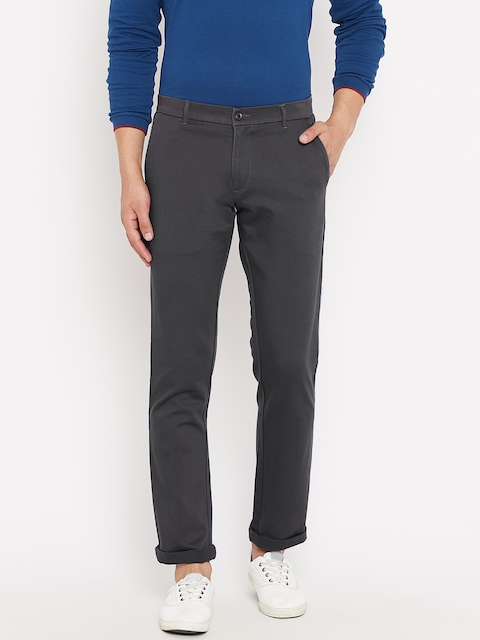Monte Carlo Men Charcoal Grey Regular Fit Solid Trousers