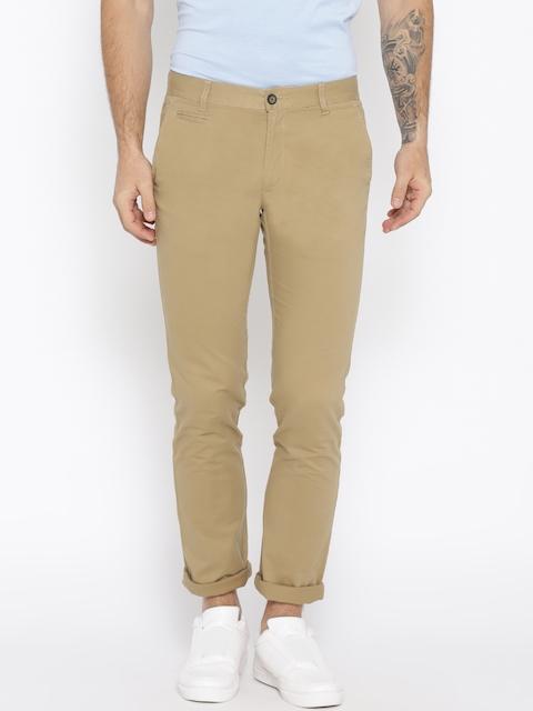 Monte Carlo Men Khaki Solid Smart Regular Fit Trousers