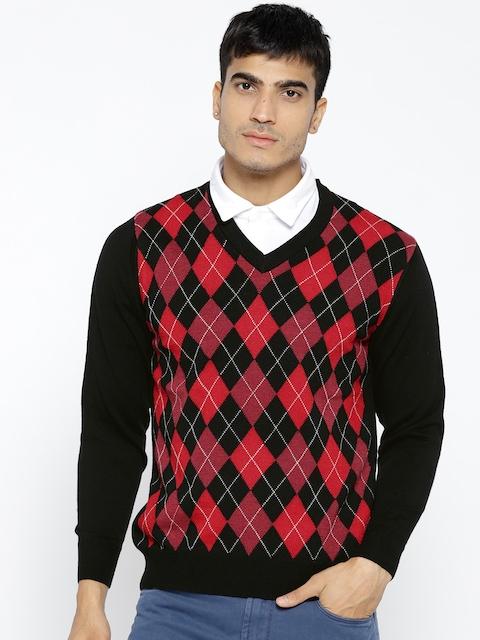 Monte Carlo Men Black & Red Self-Design Pullover