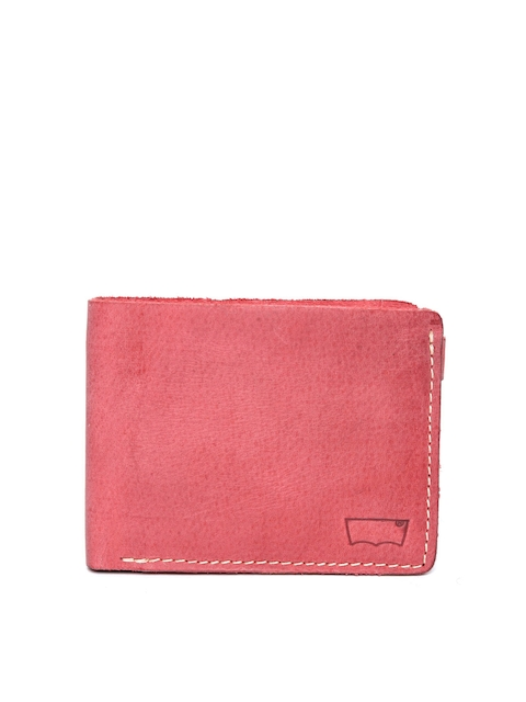 Levis Men Red Solid Leather Two Fold Wallet