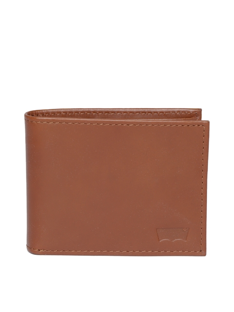Levis Men Brown Leather Solid Two Fold Wallet