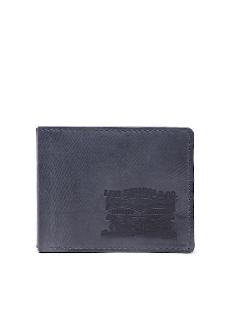 Levis Men Blue Solid Two Fold Wallet